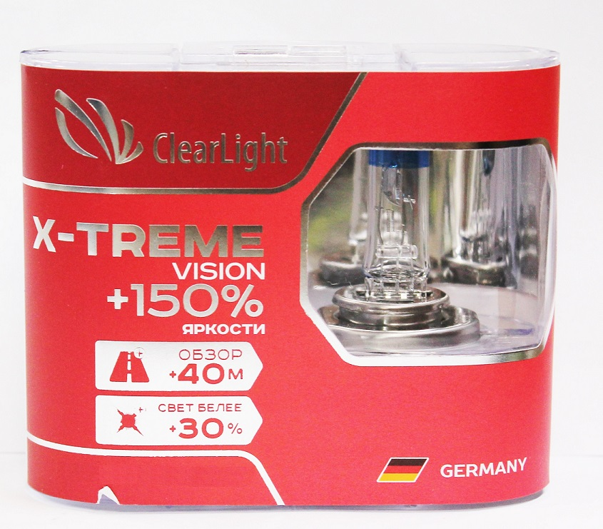Комплект ламп галогненовых H11(Clearlight)12V-55W X-treme Vision +150% Light (2 шт.)