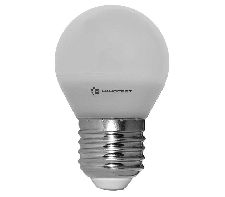 Светодиодная лампа НАНОСВЕТ E27/840 EcoLed L132 6.5Вт, шар, 520 лм, Е27, 2700К, Ra80