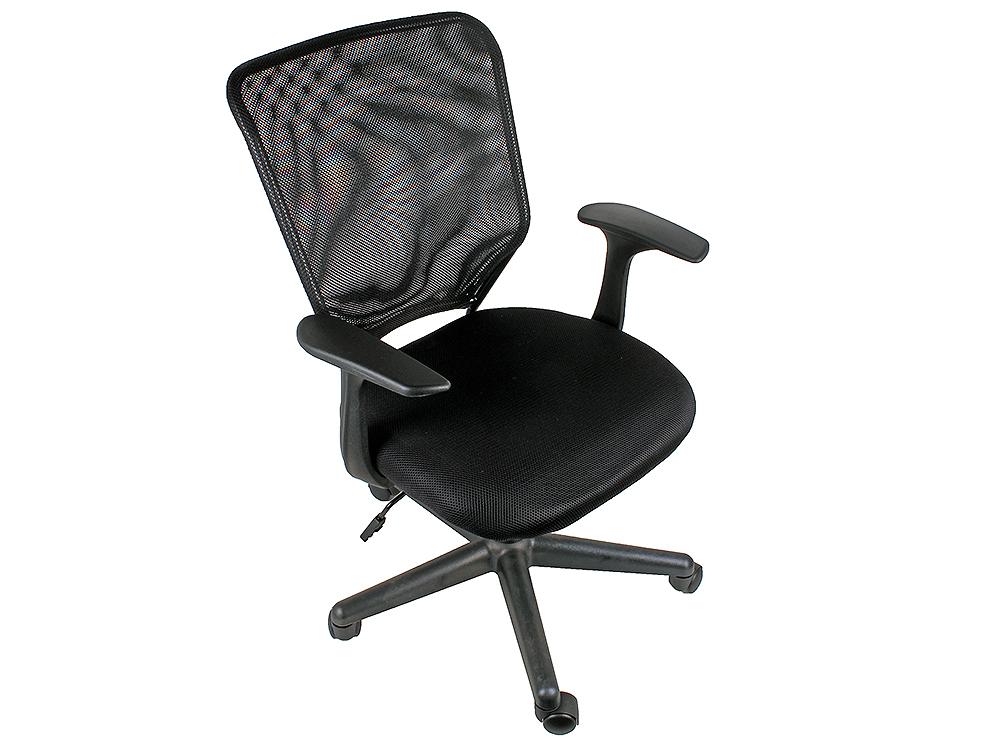 Кресло офисное COLLEGE H-8828F, черное ткань, сетчатый акрил, 120 кг, крестовина и подлокотники черный пластик. (ШxГxВ), см 58x52x86-96 кресло офисное college hlc 0601 бежевый экокожа 120 кг подлокотники черный пластик кожа крестовина черный пластик шxгxв см 62x70x108 118 кресл