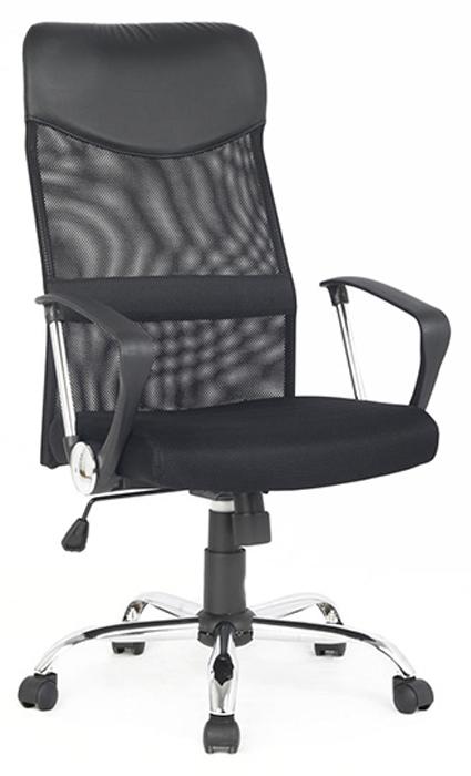 Кресло руководителя COLLEGE H-935L-2, черное ткань, сетчатый акрил, 120 кг, крестовина хромированный металл, подлокотники черный пластик. (ШxГxВ), см 70x67x113-122