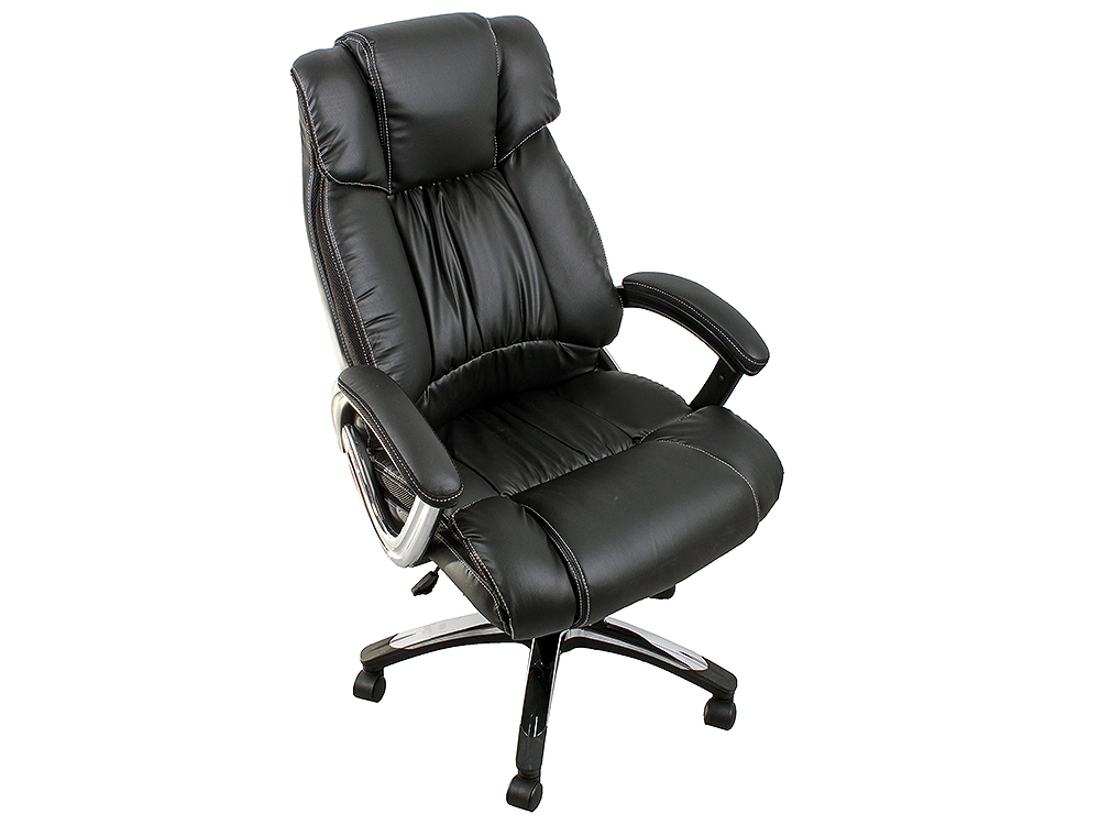 Кресло руководителя COLLEGE H-8766L-1, черный экокожа, 120 кг, подлокотники кожа/хром, крестовина хром, (ШxГxВ), см 71x74x111-121