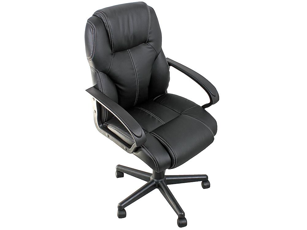 Кресло офисное COLLEGE HLC-0601, черный (экокожа, 120 кг, подлокотники черный пластик/кожа, крестовина черный пластик) кресло офисное college hlc 0601 черный экокожа 120 кг подлокотники черный пластик кожа крестовина черный пластик