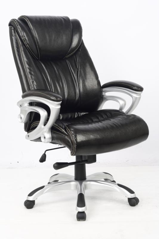 Кресло руководителя COLLEGE HLC-0505, черный (экокожа, 120 кг, подлокотники пластик/кожа, крестовина пластик с вставками) кресло офисное college hlc 0601 черный экокожа 120 кг подлокотники черный пластик кожа крестовина черный пластик