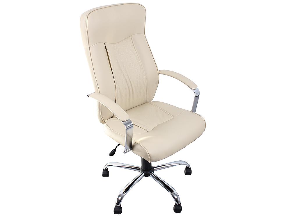 Кресло руководителя COLLEGE H-9152L-1, бежевый, экокожа, 120 кг, подлокотники кожа/хром, крестовина хром, (ШxГxВ), см 63x68x118-128 (экокожа, 120 кг, подлокотник