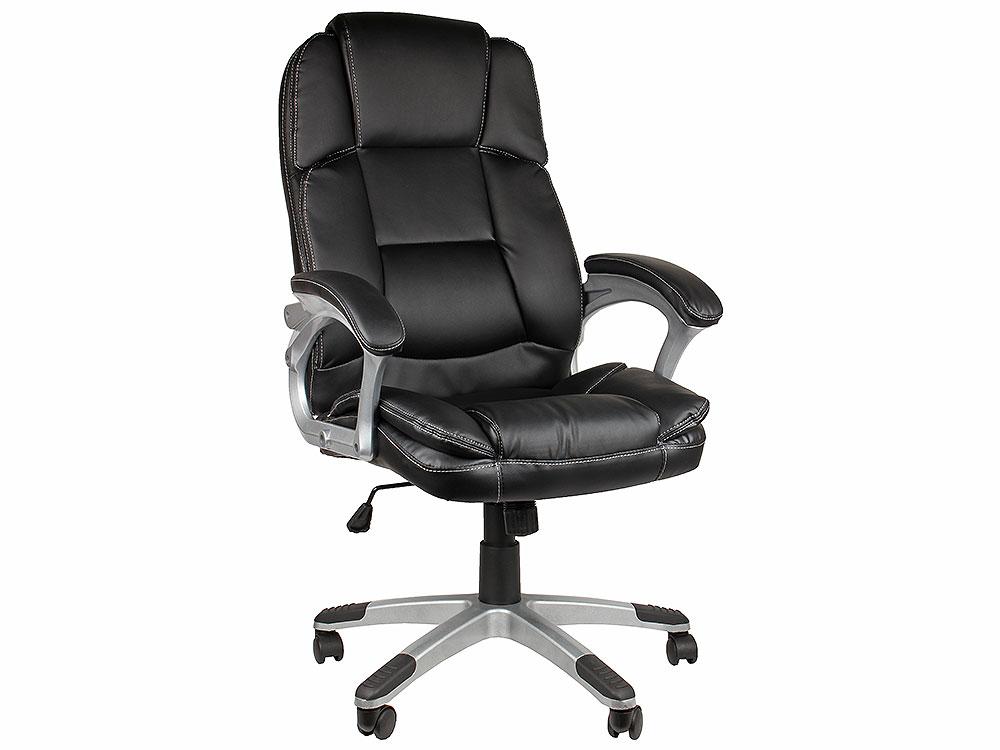Кресло руководителя COLLEGE BX-3233 Черный, экокожа, 120 кг, подл. пластик/кожа, крест. пластик с вставками, спинка 73 см, (ШxГxВ), см64.5*69*110-120