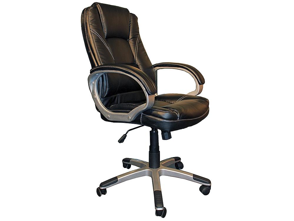 Кресло руководителя COLLEGE BX-3177 Черный, экокожа, 120 кг, подл. пластик/кожа, крест. пластик с вставками, спинка 70 см, (ШxГxВ), см 64x69x106-116к кресло руководителя college bx 3177