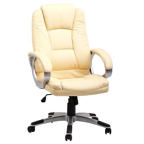 Кресло руководителя college bx-3177 бежевый, экокожа, 120 кг, подл. пластик/кожа, крест. пластик с вставками, спинка 70 см, (шxгxв), см 64x69x106-116