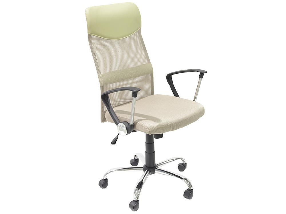 Кресло руководителя COLLEGE H-935L-2 Бежевый, ткань сетчатый акрил, 120 кг, крестовина хром/металл, подлокот. черный пластик. ШxГxВ), см 70x67x113-122