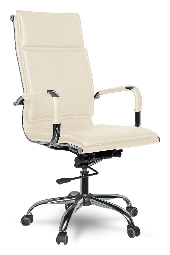 Кресло руководителя COLLEGE XH-635 Бежевый, экокожа,120кг,крест.хром/металл, подлокот.хром. металл с кожаными накладками, ШxГxВ см 50х47х110-116