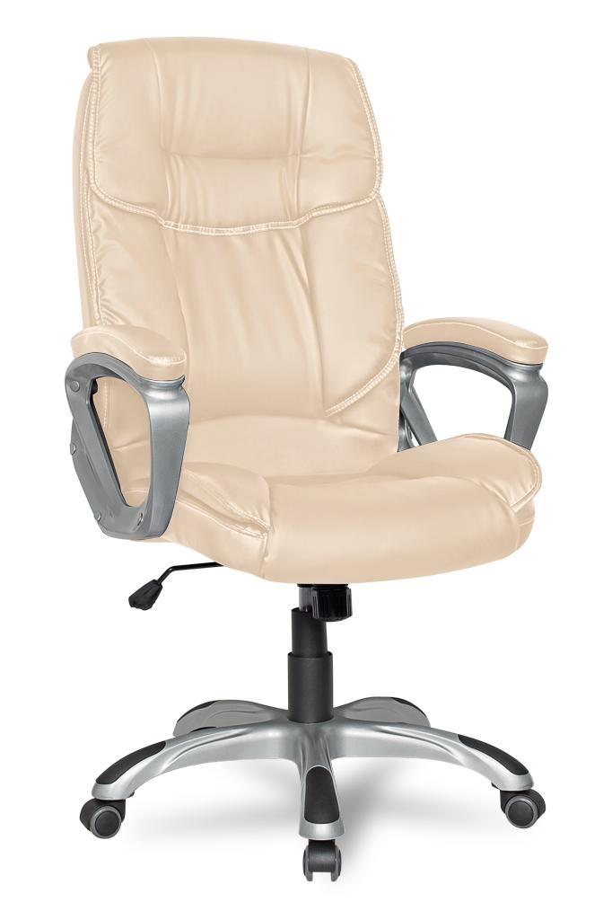 все цены на Кресло руководителя COLLEGE XH-2002 Бежевый, экокожа, 120 кг,крест.ударопрочный пластик,подлокот. пластик с кож. накладками,ШxГxВ см53х53х109-119 онлайн