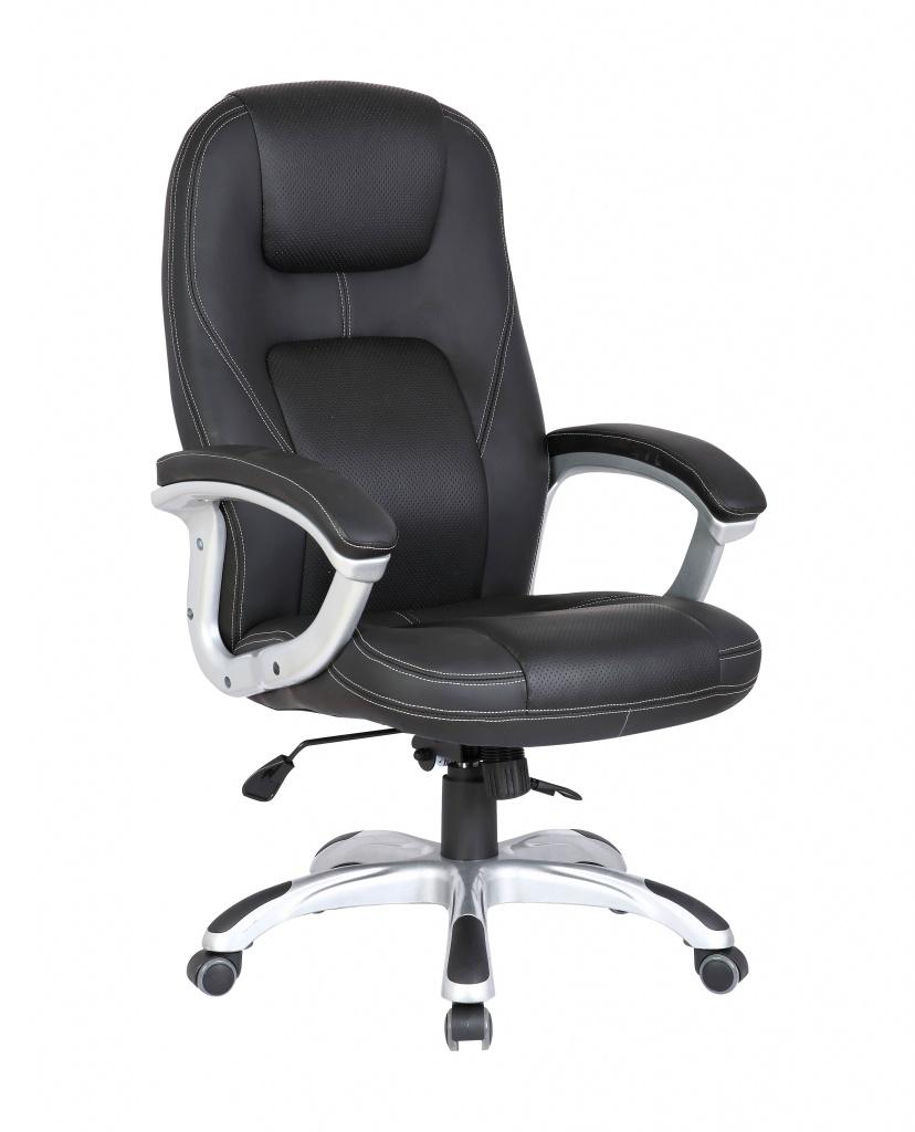 Кресло руководителя COLLEGE XH-869 Чёрный, экокожа, 120кг,крест.ударопрочный пластик,подлокот. пластик с кож. накладками lindemann