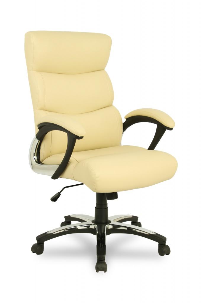 Кресло руководителя COLLEGE H-8846L-1, бежевый, экокожа, 120 кг, подлокотники пластик/кожа, крестовина пластик с вставками, (ШxГxВ) см 70x78x108-118