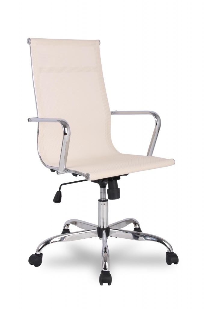 Кресло руководителя COLLEGE H-966F-1 Бежевый, сетчатая ткань, крестовина/подлокотники-хром. металл, до 120кг, спинка 57см, ширина 45см, глубина 40см