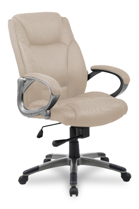 Кресло руководителя COLLEGE HLC-0487 Бежевый, ткань, 120 кг, подлокотники крашенный пластик/ткань, крестовина крашенный пластик под металл. (ШxГxВ)
