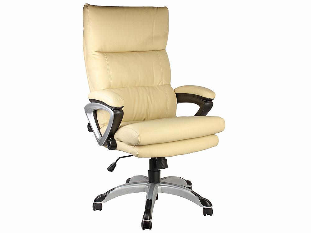 Кресло руководителя COLLEGE HLC-0802-1, Бежевый, экокожа, 120 кг, подлокотники пластик/кожа, крестовина пластик с вставками, (ШxГxВ), см 67x73x109-119 кресло руководителя college hlc 0802 1 бежевый