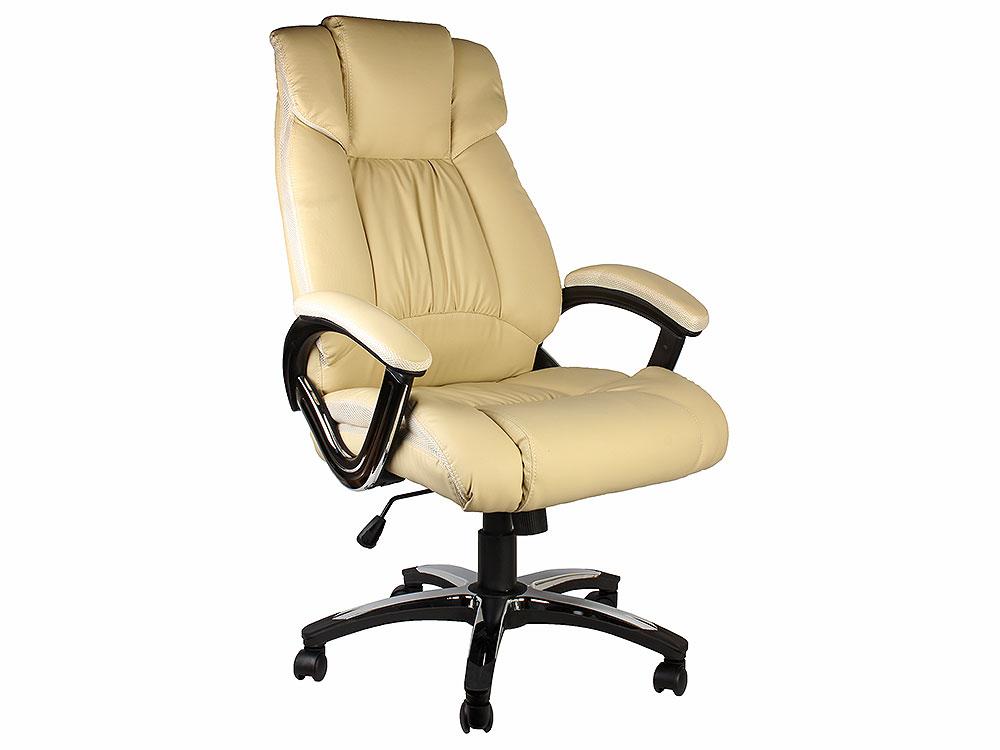 Кресло руководителя COLLEGE H-8766L-1 Бежевый, экокожа, 120 кг, подлокотники кожа/хром, крестовина хром, (ШxГxВ), см 71x74x111-121