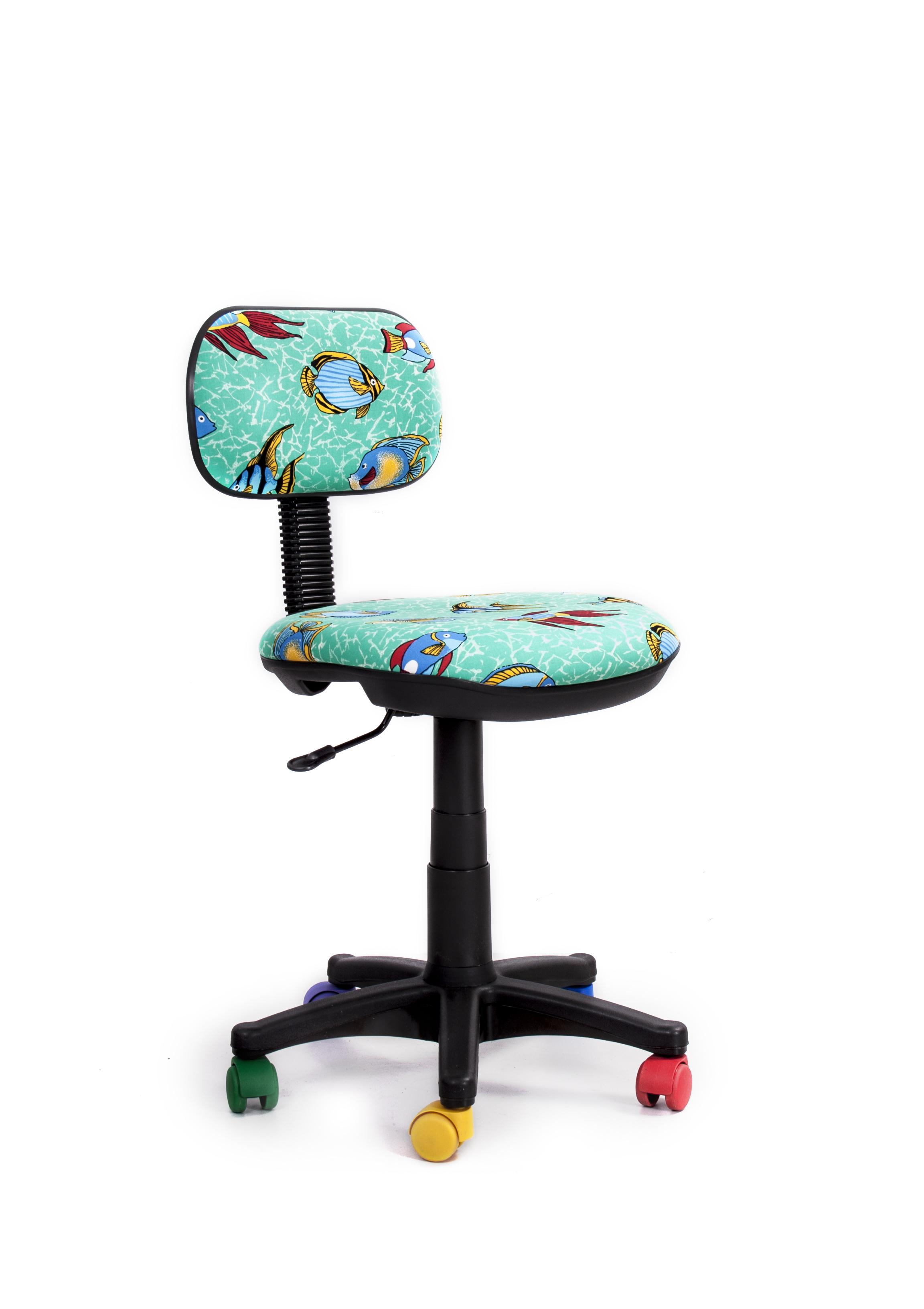 Кресло Recardo Junior D12 (разноцветные ролики, цвет обивки - бирюзовый, рисунок на обивке - рыбы) russsport rs d12