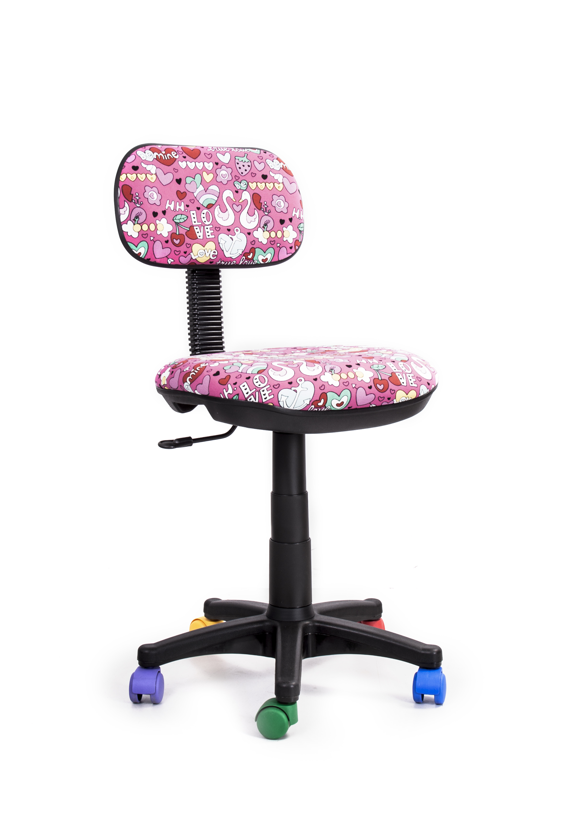 Кресло Recardo Junior DA03 (разноцветные ролики, цвет обивки - розовый, рисунок на обивке) ролики action ролики раздвижные