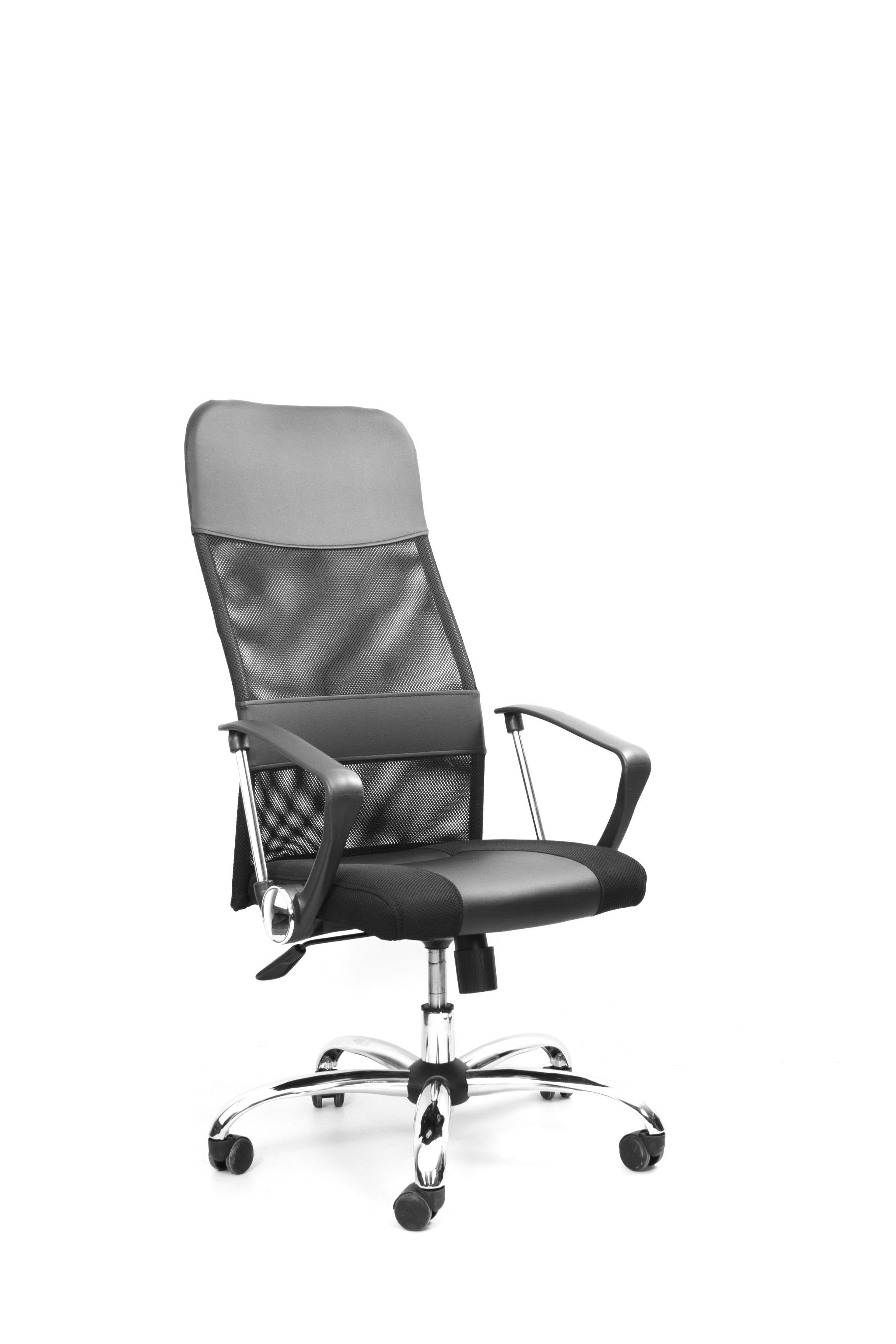 Кресло Recardo Smart (Чёрный, сетка/кожа, высота 1180-1270мм, спинка 740мм, Ш500*Г490, крест 700мм, макс. 120кг, газлифт/качание/откидывание)