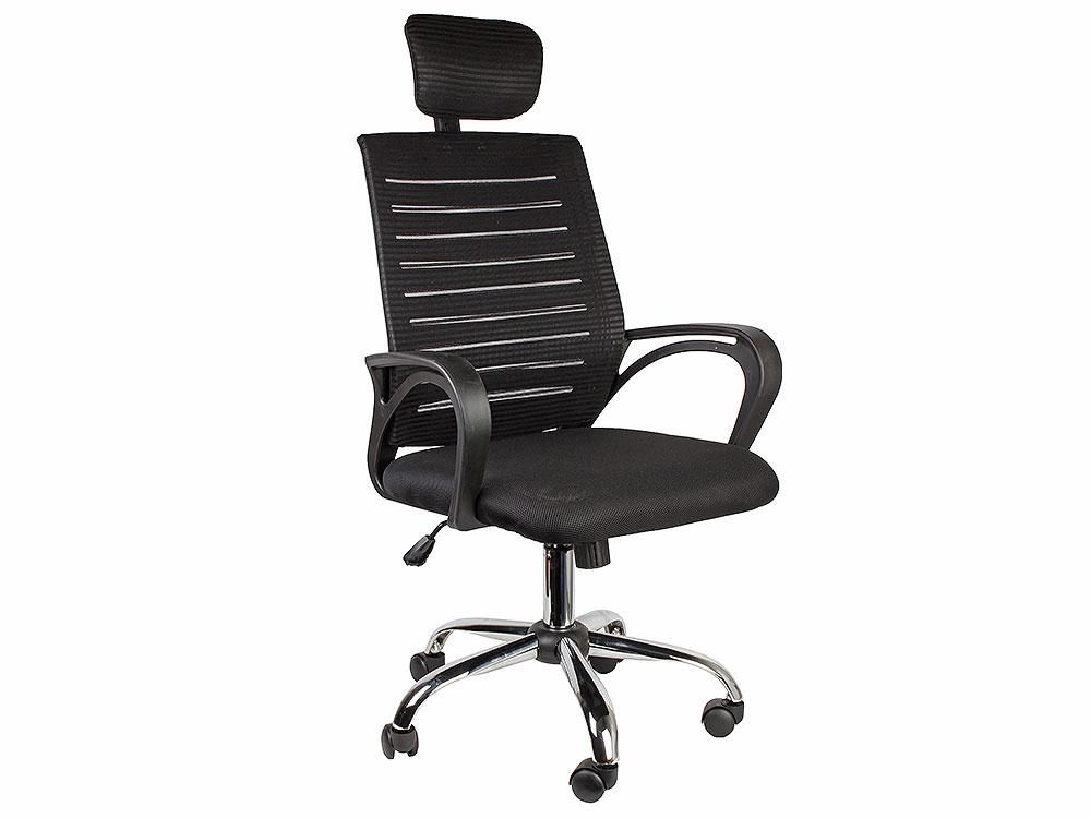 Кресло офисное COLLEGE XH-6126A Черный,капроновая сетка,120кг,хромированная крестовина,твердые подлокотники, высота спинки 69см (ШxГxВ)см 61x59x128 кресло college hlc 0601 черный