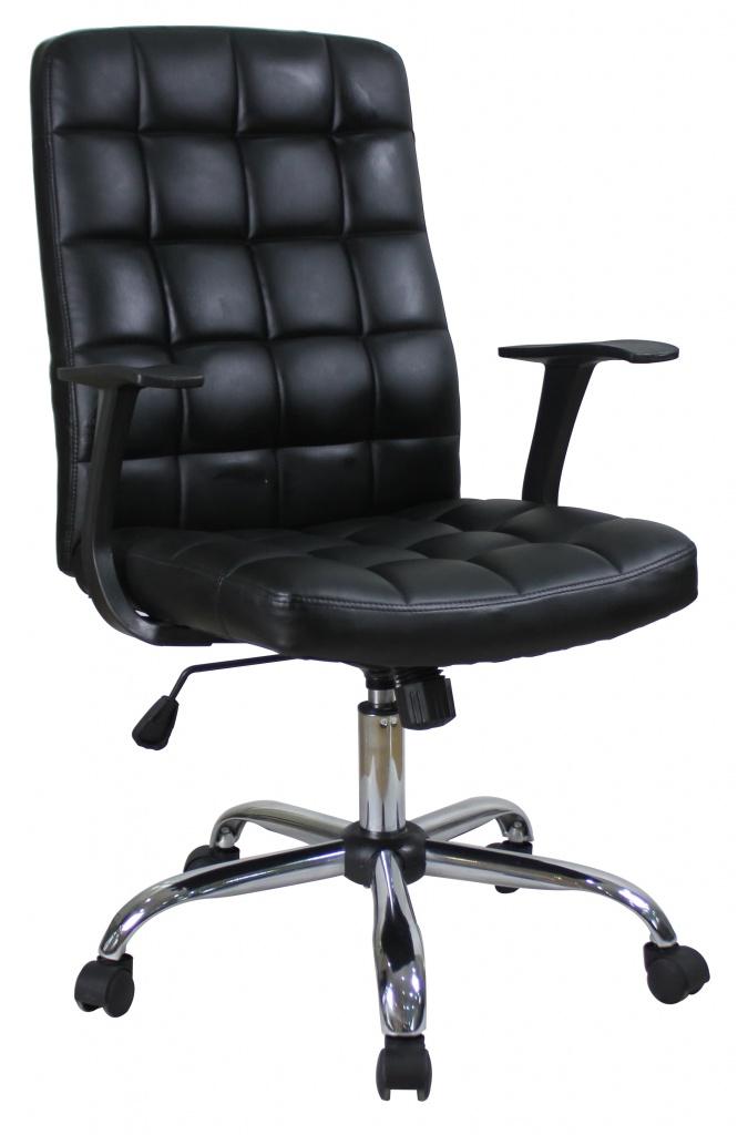 Кресло руководителя COLLEGE BX-3619 Черный, экокожа,120кг,твердые подлокотники,хромированная крестовина,высота спинки 59см, (ШxГxВ)см 60x67x112 кресло руководителя college bx 3001 1 brown