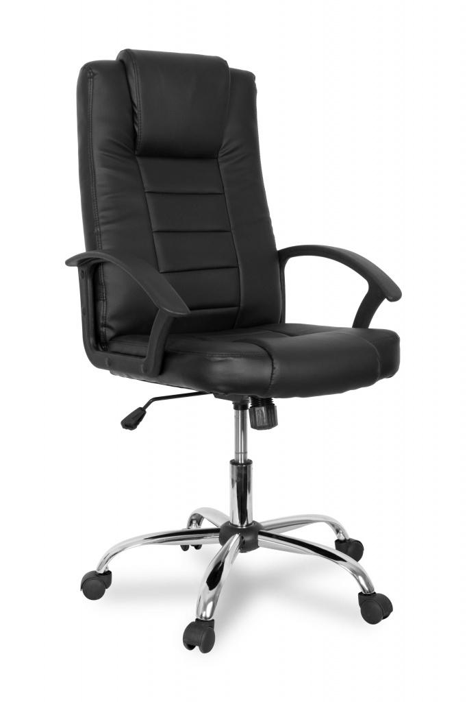 Кресло руководителя COLLEGE BX-3375 Черный, экокожа, 120кг, твердые подлокотники, хромированная крестовина, высота спинки 61см, (ШxГxВ)см 60x68x118 кресло college bx 3375 черное