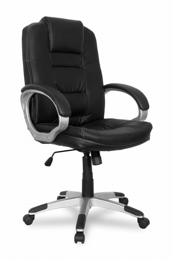 Кресло руководителя COLLEGE BX-3552 Черный, экокожа, 120 кг, мягкие подлокотники, пластиковая крестовина, высота спинки 66.5, (ШxГxВ)см 66x68x120 кресло college bx 3552 черное
