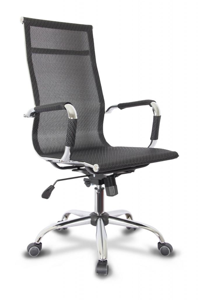 Кресло руководителя COLLEGE XH-633A Черный, сетка, крестовина/подлокотники-хром. металл, до 120кг, спинка 64см, ширина 48см, глубина 47см