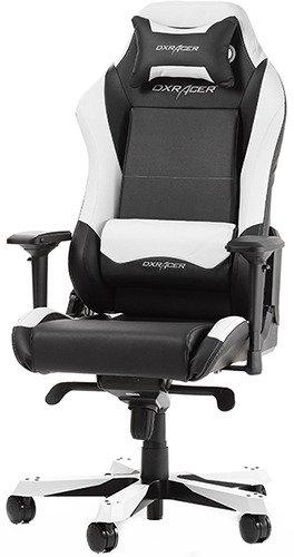 Игровое кресло DXRacer Iron чёрно-белое (OH/IS11/NW, кожа-PU, регулируемый угол наклона, механизм качания) dxracer iron oh is11 nb