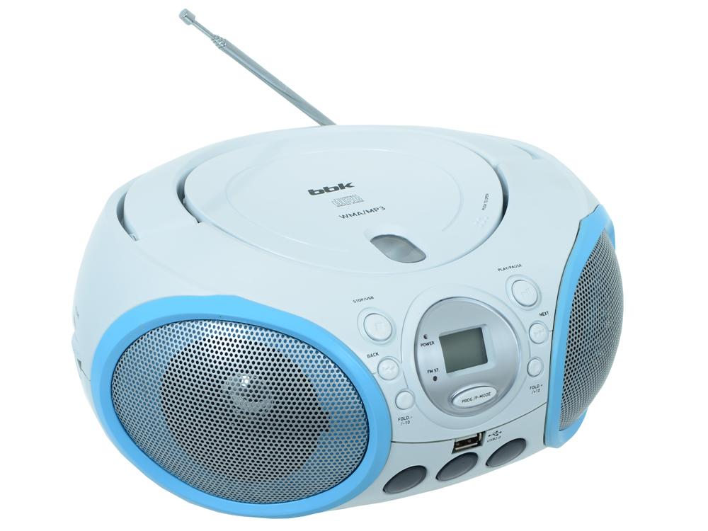 Аудиомагнитола BBK BX150U CD MP3 белый/голубой