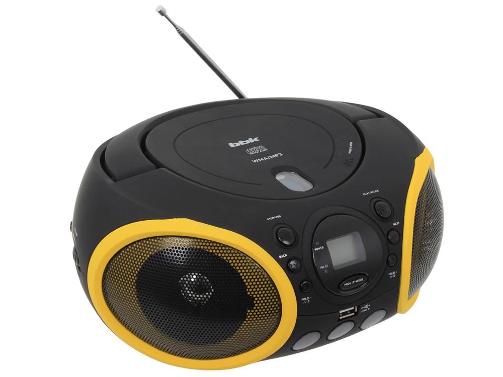 Аудиомагнитола BBK BX150U черный/желтый