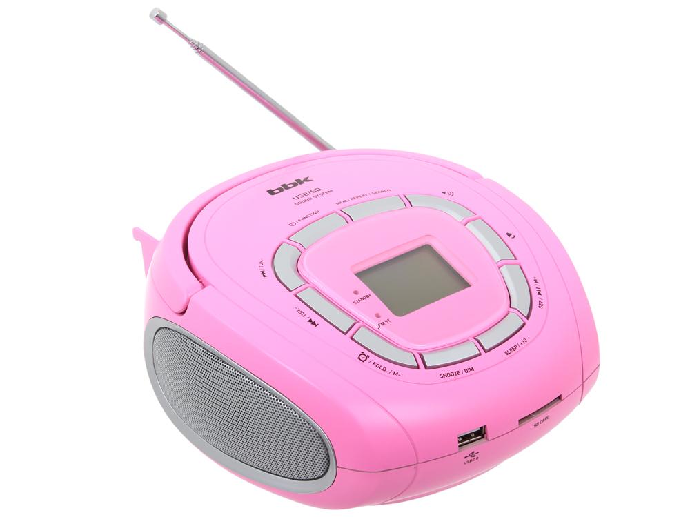 Аудиомагнитола BBK BS05 USB/SD розовый/серебро