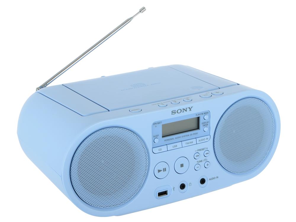 Аудиомагнитола Sony ZS-PS50CP Blue CD-магнитола, мощность звука 4 Вт, MP3, тюнер AM, FM, воспроизведение с USB-флэшек