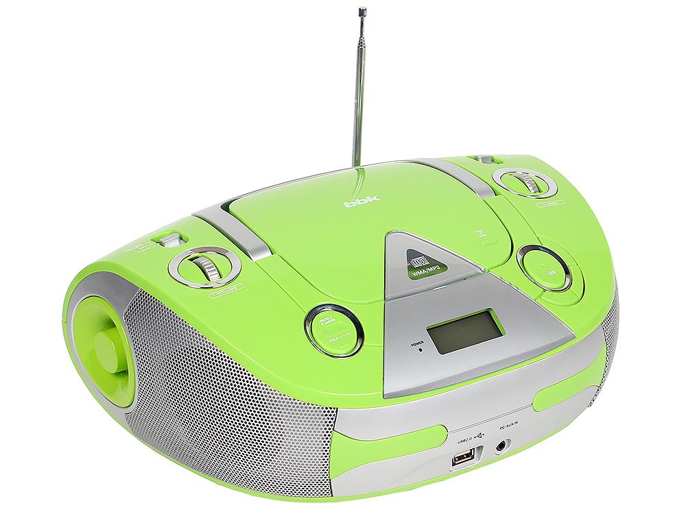 Аудиомагнитола BBK BX325U CD MP3 зеленый/серебро