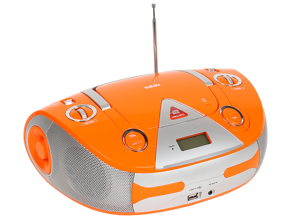 Аудиомагнитола BBK BX325U оранжевый/серебро