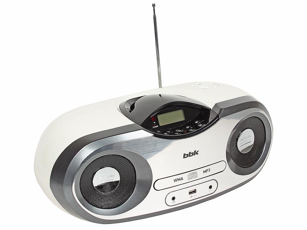 Аудиомагнитола BBK BX517U CD MP3 белый/металлик
