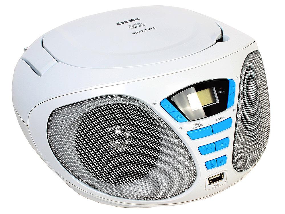 Аудиомагнитола BBK BX180U белый/голубой аудиомагнитола bbk bx180u черный желтый bx180u черный желтый