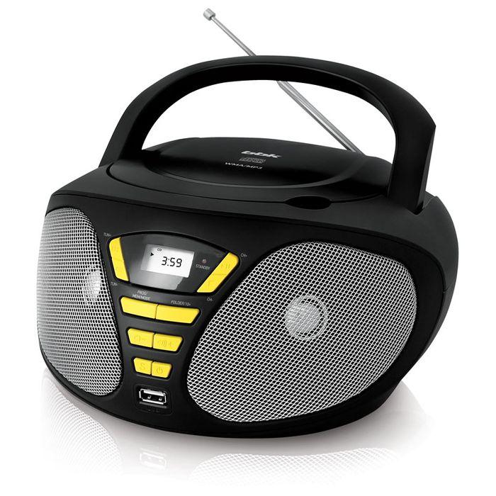 Аудиомагнитола BBK BX180U черный/желтый