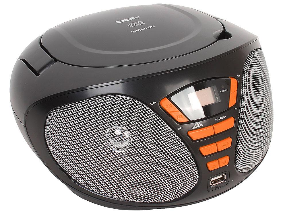 Аудиомагнитола BBK BX180U черный/оранжевый аудиомагнитола bbk bs15bt черный оранжевый