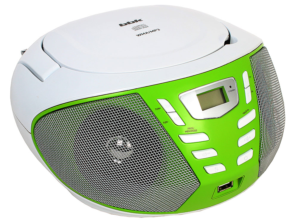 Аудиомагнитола BBK BX193U белый/зеленый магнитола bbk bx193u white orange