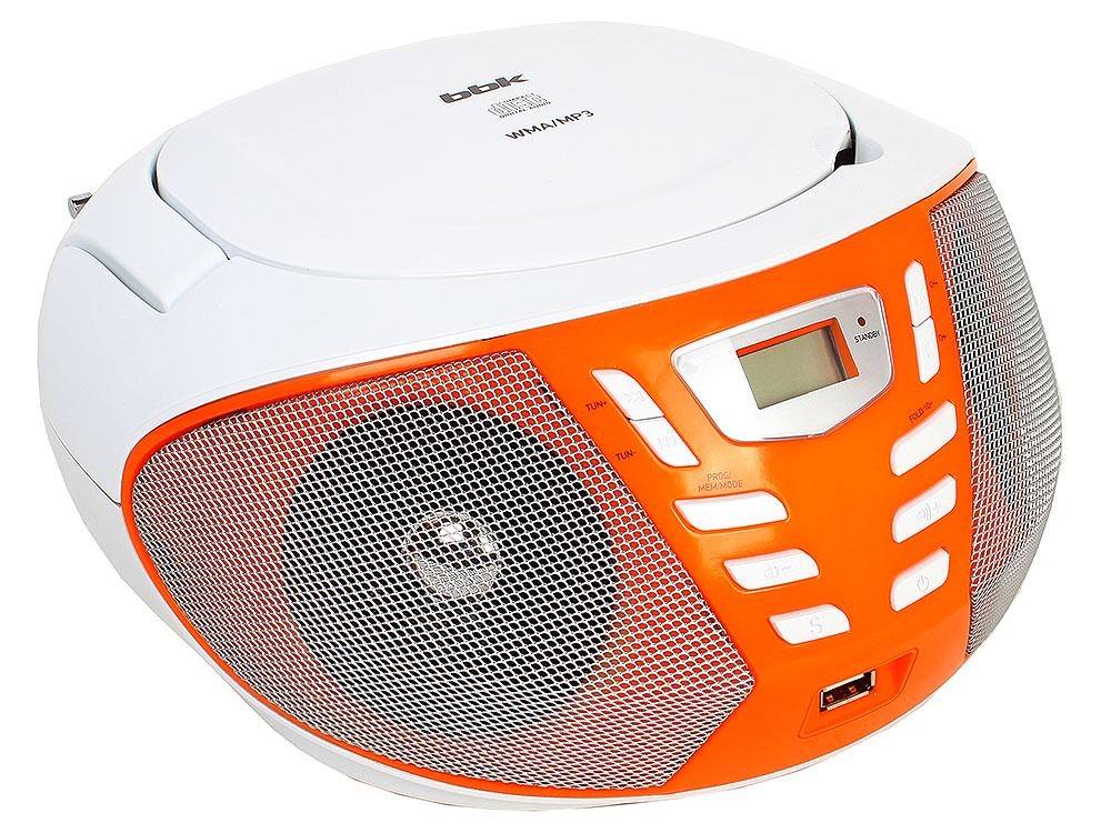 Аудиомагнитола BBK BX193U белый/оранжевый аудиомагнитола bbk bx193u белый оранжевый