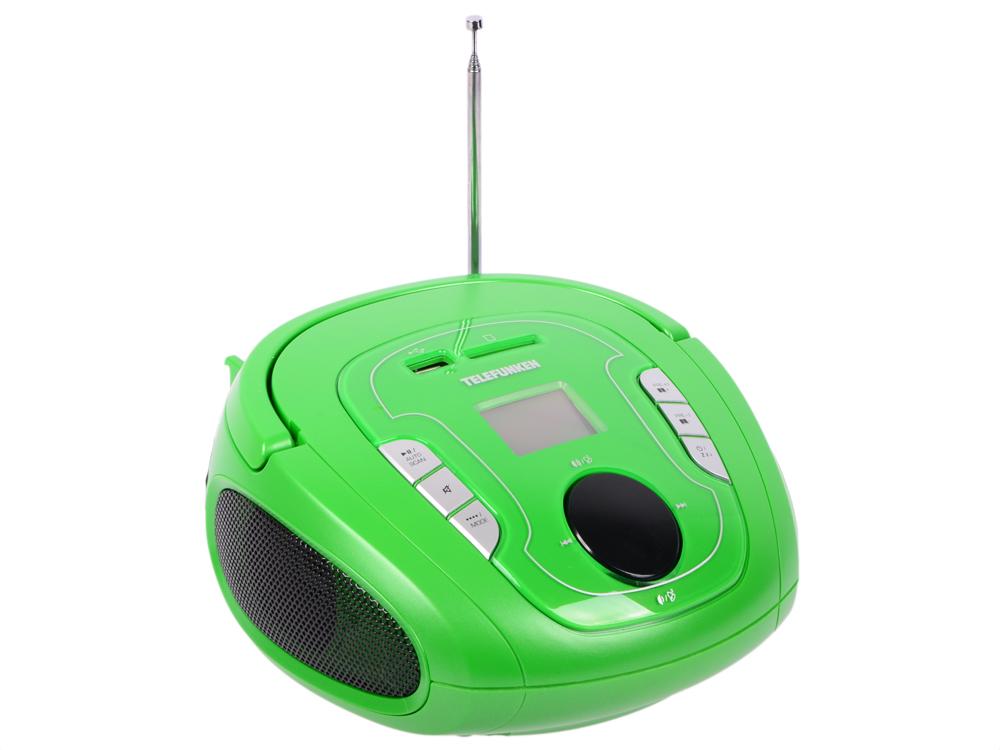 Аудиомагнитола TELEFUNKEN TF-SRP3471B черный с зеленым аудиомагнитола telefunken tf csrp3490b розовый tf csrp3490b розовый
