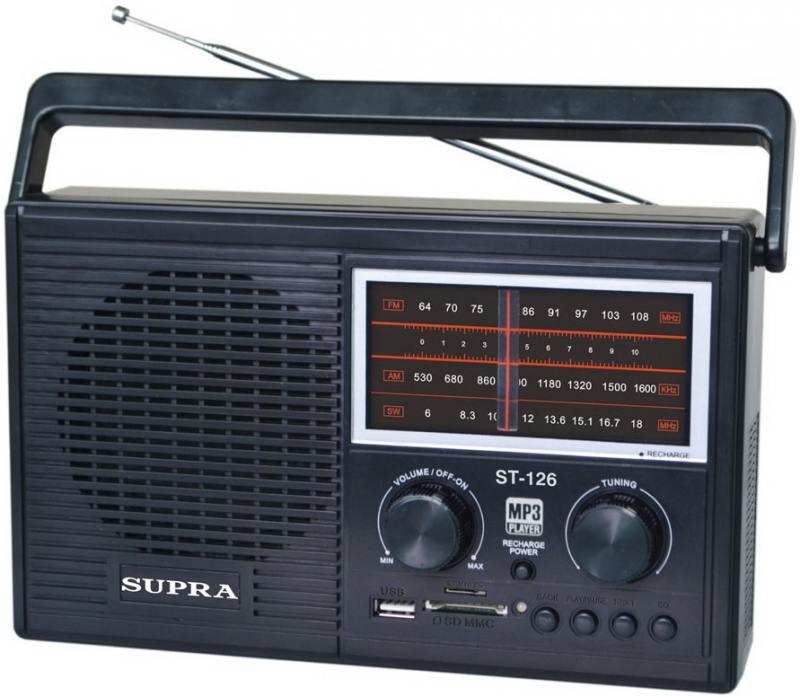 Радиоприемники Supra ST-126 черный телефон supra stl 111 белый