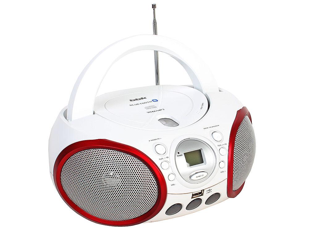 Аудиомагнитола BBK BX150BT белый/красный