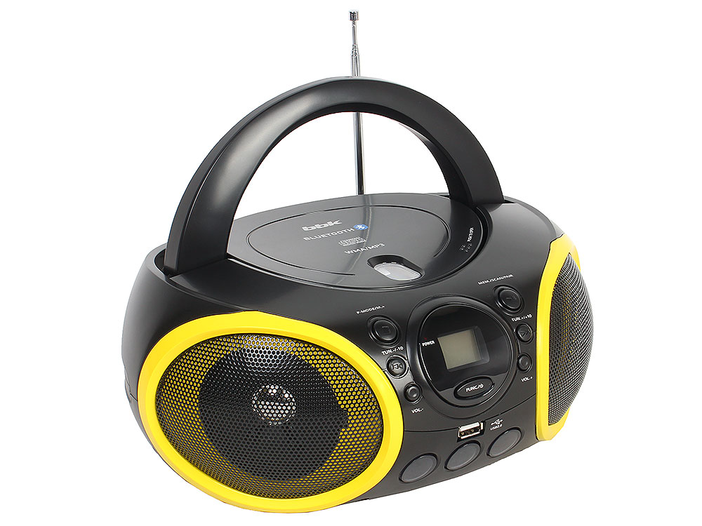 цена на Аудиомагнитола BBK BX150BT черный/желтый