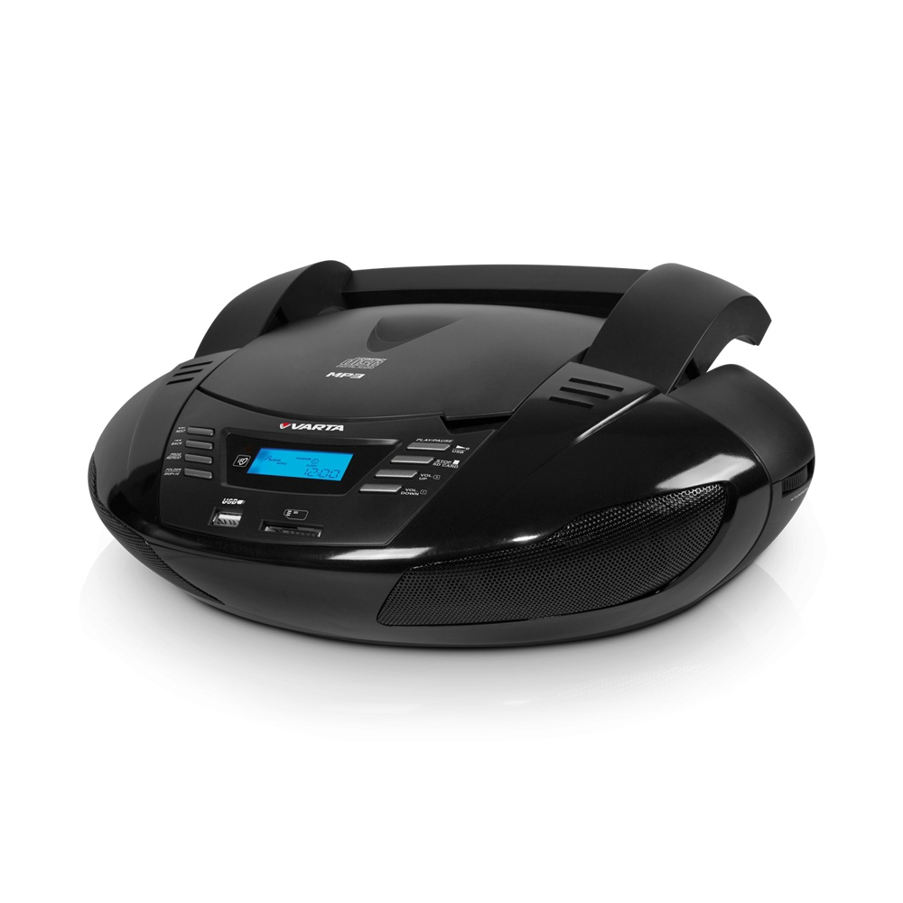 Магнитола Varta V-CDR302US черный CD-магнитола, мощность звука 6 Вт, MP3, тюнер AM, FM, воспроизведение с USB-флэшек