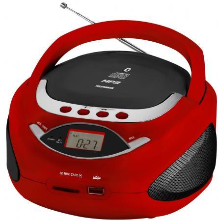Аудиомагнитола Telefunken TF-CSRP3494B красный 2Вт/CD/CDRW/MP3/FM(an)/USB/BT/SD/MMC
