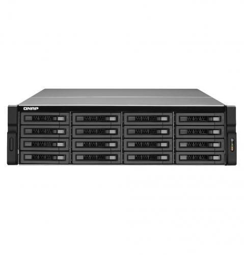 Сетевой накопитель QNAP TS-EC1680U-E3-4GE-R2 16 отсеков для HDD, два порта 10 GbE (SFP+), стоечное исполнение, два блока питания. Intel Xeon E3, 4ГБ.