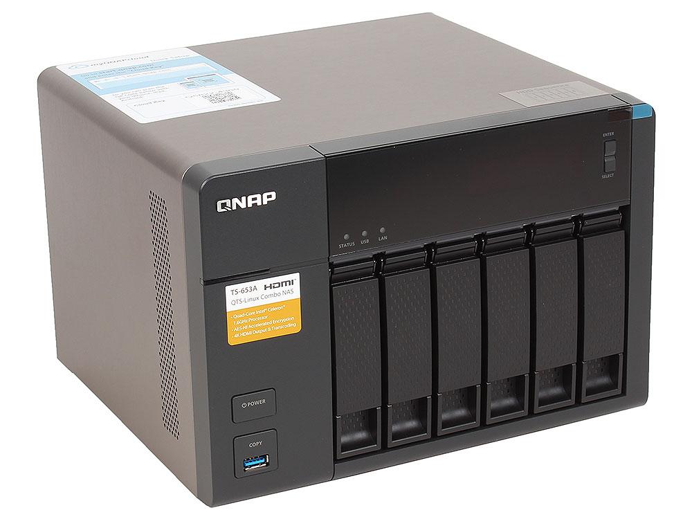 Сетевой накопитель QNAP TS-653A-4G Сетевой RAID-накопитель, 6 отсеков для HDD, HDMI-порт. Четырехъядерный Intel Celeron N3150 1,6 ГГц сетевое хранилище qnap tvs 863 16g intel 2 0ггц 8x2 5 3 5hdd hot swap raid 0 1 5 6 10 2xgblan 5xusb hdmi