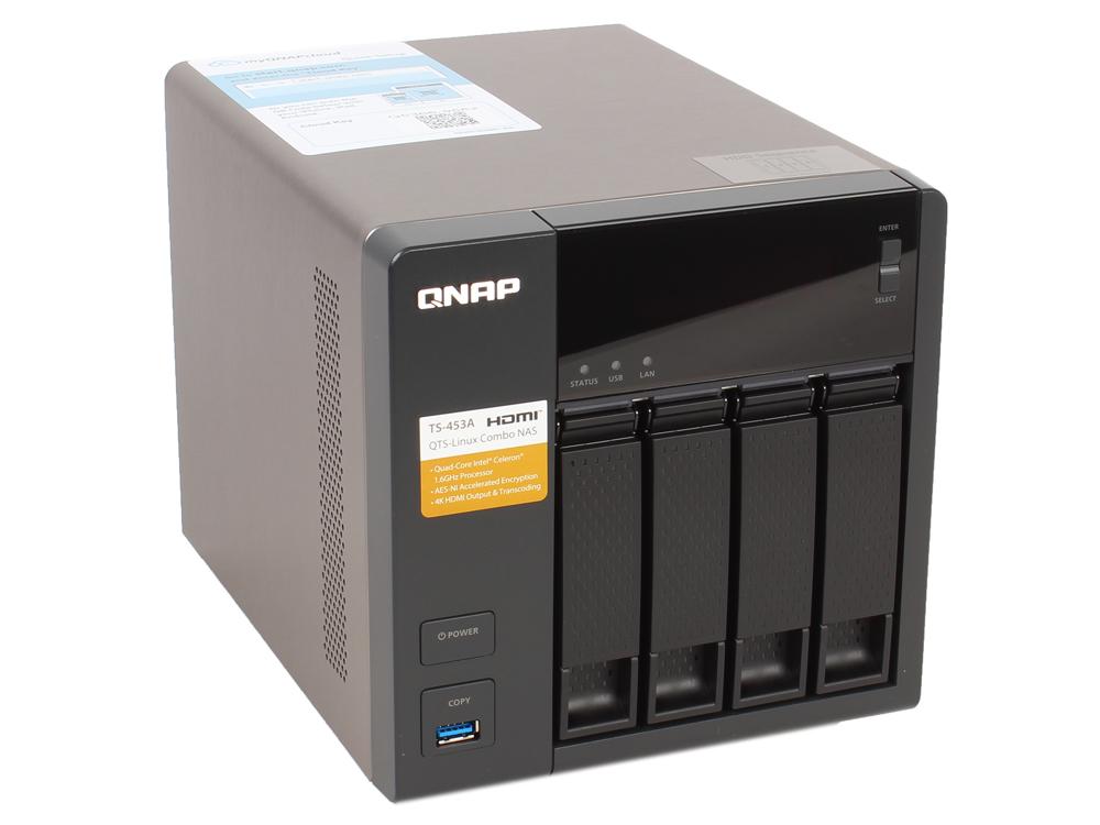 Сетевой накопитель QNAP TS-453A-8G Сетевой RAID-накопитель, 4 отсека для HDD, HDMI-порт. Четырехъядерный Intel Celeron N3150 1,6 ГГц сетевой накопитель nas qnap d4 qnap d4
